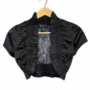 Seductions Black Lace Cropped Shrug, M